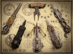 Amazing weapon concept arts, design and making for Assassin's Creed Movie by Damage-inc For the 2nd picture: From left to right, the Hidden blades belong to Maria, Callum, Nathan, Aguilar and Benedicto. Furthermore, Callum's hidden blade can be...