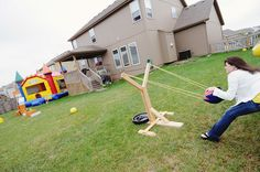 Angry Birds Party giant sling shot game  @Erin Huffman Can Bill make this?