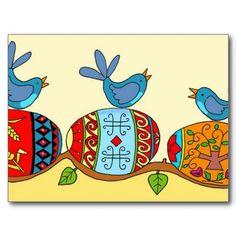 Spring Blessings Ukrainian Folk Art Postcard