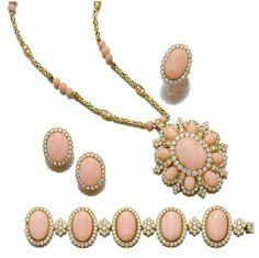 Coral and diamond parure - Sothebys
