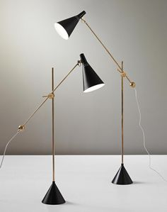 "scandinaviancollectors: ""TAPIO WIRKKALA, Pair of standard lamps, model no. K 10-11, c.1954. Material painted metal, painted aluminium and brass. Manufactured by Idman Oy, Finland. / Phillips """