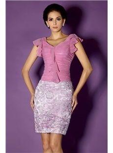 Sheath/Column Knee-Length V-Neck Short-Sleeves Taline's Mother of the Bride Dress