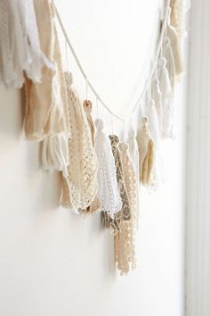 I saw this tassel garland at Urban Outfitters for $49.  I know that I can make it for less money and have more fun in the process!