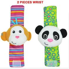SOZZY Baby Rattles Toys Animal Socks Wrist Strap With Rattle Baby Foot Socks Style Bug Monkey Dog Deer Panda