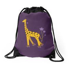 #Purple Cartoon Funny #Giraffe Roller #Skating Drawstring #Bag by Boriana Giormova #bags