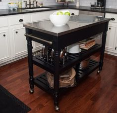 Clever Small Island Ideas for Your Kitchen (Photos) Small kitchen island cart on wheels with stainless steel top.Small kitchen island cart on wheels with stainless steel top. Rolling Kitchen Island, Kitchen Island Table, White Kitchen Island, Kitchen Island With Seating, Kitchen Island With Wheels, Kitchen Carts On Wheels, Kitchen Cabinets, Kitchen Island On Casters, Kitchen Dining