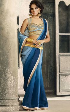 Tempting Shaded Blue Silk Saree with Blouse