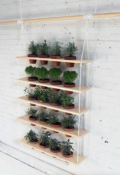 Der fertige vertikale Kräutegarten hängt an der Wand