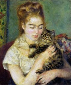 Pieree-Auguste Renoir, Woman with a Cat, 1875.
