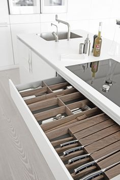 #bulthaup #contemporary #white #kitchen natural wood interior to drawers