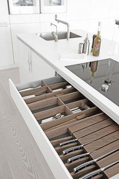 bulthaup www.bulthaupsf.com #bulthaup #kitchen #design.    Knife drawer.
