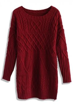 Cable Knit Sweater Dress in Wine