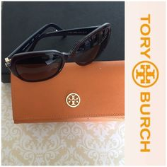 Tory Burch Sunglasses Preowned Tory Burch Sunglasses. Plastic frames with Tory Burch gold logo on the side. Colors: purple, navy blue, and lime green. In very good condition Tory Burch Accessories Glasses