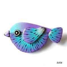Bird - polymer clay brooch   por Zuta Art