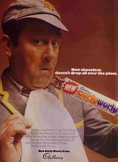 Sir Terry Scott advertising Curly Wurly in the He used to dress up as a schoolboy for the tv ads as well. The advert depicts how the recipe was changed so that the middle was softer, making the milk chocolate less likely to drop off. 1970s Childhood, My Childhood Memories, Curly Wurly, Retro Sweets, Vintage Sweets, Tv Adverts, Kids Tv, Old Ads, Teenage Years