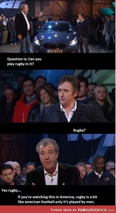 Funny pictures about Truth About Rugby. Oh, and cool pics about Truth About Rugby. Also, Truth About Rugby photos. Top Gear Funny, Rugby Memes, Rugby Funny, Top Gear Bbc, Jeremy Clarkson, British Humor, Best Funny Pictures, Fail Pictures, Funny Images