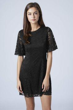 6a655d4aa2e   Cape Sleeve Lace Shift Dress by Rare - Black cape sleeve mini shift dress