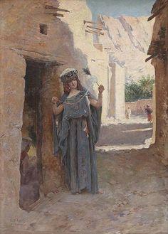 Algerie - Peintre Francais LOUIS ÉMILE BERTRAND (1815-1897), Huile sur toile, Titre : Fileuse à El Kantra , Biskra