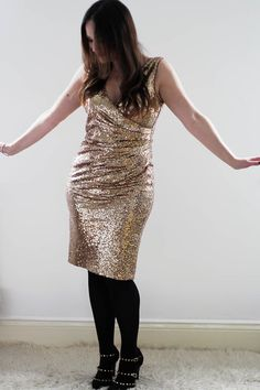 Gold sequin dress for winter fashion and winter wedding inspiration.