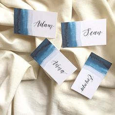 dip-dye watercolor indigo place cards wedding invitations by Emily Rose Ink - Hochzeit Wedding Name, Wedding Place Cards, Diy Wedding, Diy Place Cards, Wedding Flowers, Card Wedding, Wedding 2017, Wedding Bells, Summer Wedding