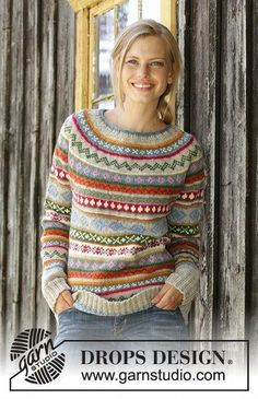Winter Carnival / DROPS – Knitted sweater in DROPS Karisma. The work is knitted from top to bottom with round yoke, Norwegian pattern and A-cut. Knitted hat in DROPS Karisma. The work is knitted with Norwegian pattern and stripes. Fair Isle Knitting Patterns, Fair Isle Pattern, Knitting Stitches, Knit Patterns, Free Knitting, Afghan Patterns, Amigurumi Patterns, Laine Drops, Drops Karisma