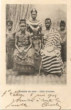 """Famille de chef"" Ivory Coast, circa 1900 Ivory Coast officially the Republic of Côte d'Ivoire (French: République de Côte d'Ivoire), is a country in West Africa. It has an area of 322,462 square kilometres (124,503 sq mi), and borders the countries Liberia, Guinea, Mali, Burkina Faso, and Ghana; its southern boundary is along the Gulf of Guinea."