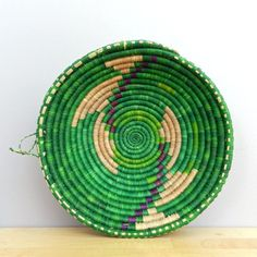 Handwoven Grass Bowl Handwoven Basket Green and by Ubushobozi