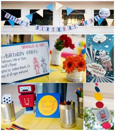 Robot Birthday Party Ideas #Robot #PartyIdeas  Note to self: make bunting