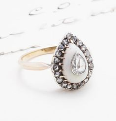 Victorian Pear-Shaped Opal and Diamond Ring, $2,500.00