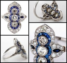 Art Deco Opposing Minarets Diamond & Sapphire Ring, circa 1920's. Center diamonds are of I+ color VS+ clarity. Center is approximately 0.50 ct, two sides 0.30 ct each. 34 calibrated french cut sapphires surround the center stones. Finishing touch are graduated diamonds of very fine quality forming a Persian style onion-dome at each end. Sides contain two marquise shaped sapphires and pave diamonds. Via 1stdibs.
