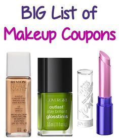 BIG List of Makeup Coupons: $2.00 off 1 Revlon, $1.00 off 1 CoverGirl + more! #makeup #coupons Beauty Secrets, Diy Beauty, Beauty Nails, Fashion Beauty, Beauty Makeup, Makeup Dupes, Hair Makeup, Extreme Couponing, Printable Coupons