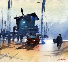End of Day - Venice Beach Thomas W Schaller - Watercolor