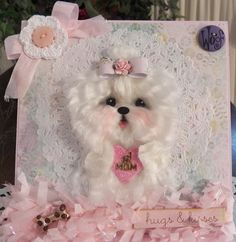 Maltese Mother's day Easel Card #1 mom shabby chic!