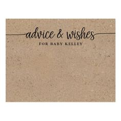 Shop Rustic Baby Advice and Wishes Card created by FancyShmancyNotes. Personalize it with photos & text or purchase as is! Wedding Advice Cards, Baby Shower Advice, Baby Shower Supplies, Christian Memes, Rustic Baby, Wishes For Baby, Rustic Design, Place Card Holders, Writing