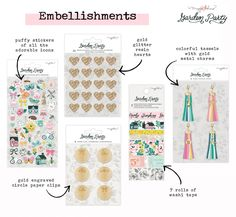 Maggie Holmes Garden Party Embellishments and Stickers Pretty Hands, Day Planners, Beautiful Patterns, Thank You Cards, Paper Flowers, Hand Lettering, Embellishments, Birthday Cards, Paper Crafts