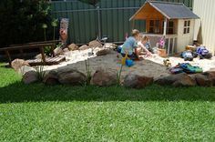 I love the big rocks bordering the sand box :) ., - I love the big rocks bordering the sand box :] …, - Outdoor Play Spaces, Kids Outdoor Play, Kids Play Area, Backyard For Kids, Outdoor Fun, Natural Playground, Backyard Playground, Playground Ideas, Rock Border