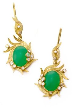 Laurie Kaiser Lemongrass Earrings in chrysoprase and diamonds. Photo by Jan Ellis. www.lauriekaiser.com