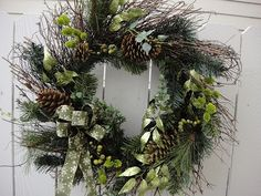 Holiday Wreath  With Pinecones.