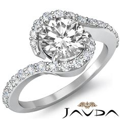 Round Diamond Engagement Curve Shank Ring EGL G Color SI1 14k White Gold 1.35 ct #Javda #SolitairewithAccents