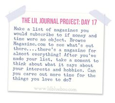 The Lil Journal Project Day 17 via lilblueboo.com