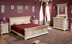 Mobila / Mobilier Dormitor alb / crem clasic din lemn masiv  cu sculptura cu prezenta impunatoare si distinsa. Mobila este disponibila in 4 variante de finisaj / culoare - nuc , nuc rosiatic, alb sau crem - se pot vedea la poze. Finisajele vopsite, alb sau crem se pot face cu sau fara patina - maro sau aurie.  In poze apare nuc respectiv crem cu patina maro, iar la Dormitor Daria se poate vedea finisajul alb cu patina aurie. Decor, Furniture, Bedroom Wardrobe, Furniture Design Wooden, Home Decor, Home Deco, Bedroom Furniture Sets, Furniture Sets, Furniture Design