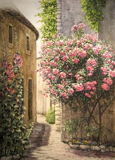 House With Roses Painting Gallery, Art Gallery, Garden Doors, Color Pencil Art, Acrylic Art, Beautiful Paintings, Pretty Pictures, Painting Inspiration, Garden Art