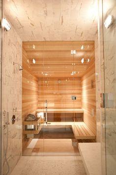 Sauna w domu, domowa jasna sauna, sauna wykonana w jasnym drewnie - bardzo przyjemna i bardzo nowoczesna! Zobacz jak zaprojektować saunę w domu, jak urządzić domową saunę - zainspiruj się!