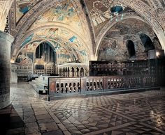 The Lower Basilica of St. Francis of Assisi in Assisi was completed in 1230. It is the mother church of the Franciscan Order and one of the most important places of pilgrimage in Italy and a UNESCO world heritage site.