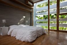 """Stacking Green House, Ho Chi Minh, Vietnam by Vo Trong Nghia Architects. ¨We named this tropical, unique and green house """"Stacking Green"""" because its façades filled with vigorous and vital greenery¨. Interior Design Living Room, Living Room Designs, Interior Decorating, Decorating Ideas, Bedroom Designs, Decor Ideas, Green Facade, Green Roofs, Minimalist Bedroom"""