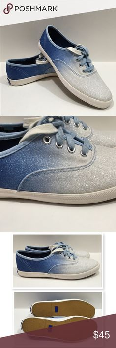 HP Keds Champion Ombré Glitter Sneaker Keds Champion Ombré Glitter Sneaker. Ok so how cute are these!! You will get so many compliments on these shoes!! Canvas upper. Lace up. (2 pair laces included 1 white 1 blue). Canvas lining. Sz 6.5.                                               I keds Shoes Sneakers