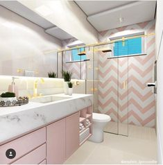 Marbled is combined with Millennial Pink in this ultra feminine bathroom to create a sanctuary Cute Room Decor, Teen Room Decor, Bedroom Decor, Dream Bathrooms, Dream Rooms, Hotel Bathrooms, Feminine Bathroom, Girl Bedroom Designs, Bathroom Interior Design