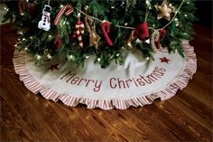 """""""Tis The Season"""" 60 In Tree Skirt ... simple, classic, and farmhouse style matches up with coordinating Tis the Season table runners, apron, mantle scarf, stockings, pillows. Visit CountryPorchHomeDecor.com"""