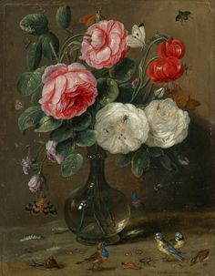 """..so many little creatures amongst the flowers...  Jan van Kessel the Elder [Flemish still life painter and draughtsman, 1626-1679]. """"Still life of roses in a glass vase with numerous insects, including butterflies, a ladybug, a bee and a dragon fly, together with further insects and small songbirds, including two bluetits"""". Oil on oak panel."""