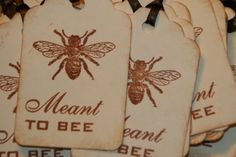 Meant To Bee Tags - Vintage Style -  Bridal Shower Favor Tags - Wedding Favor Tags - Wedding Wish Tree Tags- Qty 50 on Etsy, $26.61 CAD